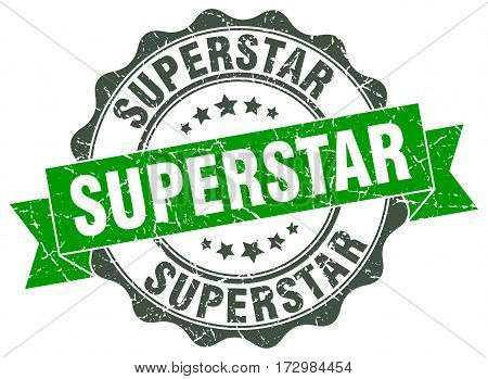 superstar. stamp. sign. seal. round. retro. ribbon