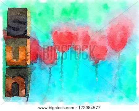 Digital watercolor painting of tulips with block letters spelling sun. With space for text.