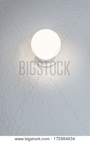 Vertical shot of a Glowing Crystal Ball On Textured Background With Copy Space.