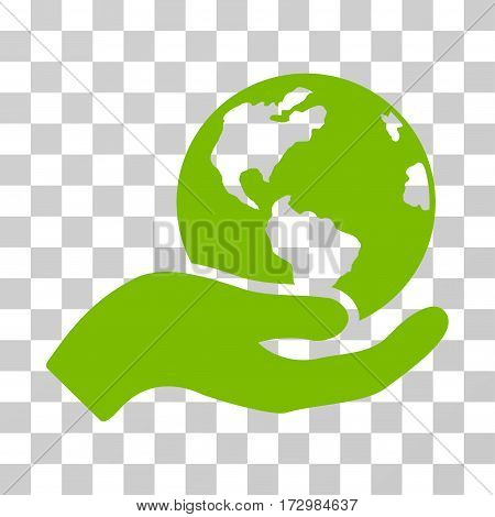 Earth Care vector icon. Illustration style is flat iconic eco green symbol on a transparent background.