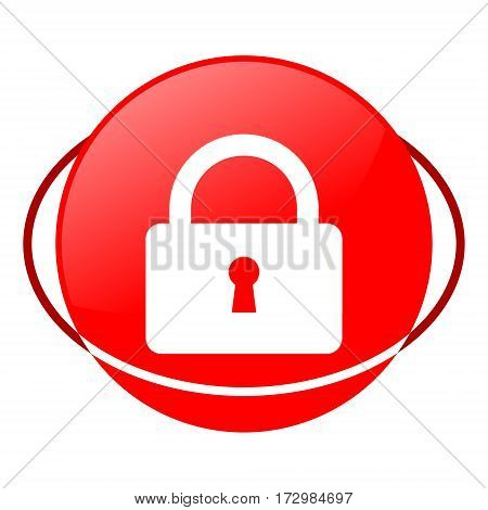 Red icon, lock vector illustration on white background