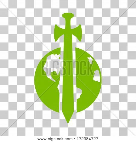 Earth Military Protection vector pictogram. Illustration style is flat iconic eco green symbol on a transparent background.
