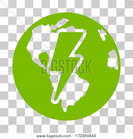 Earth Shock vector pictograph. Illustration style is flat iconic eco green symbol on a transparent background.