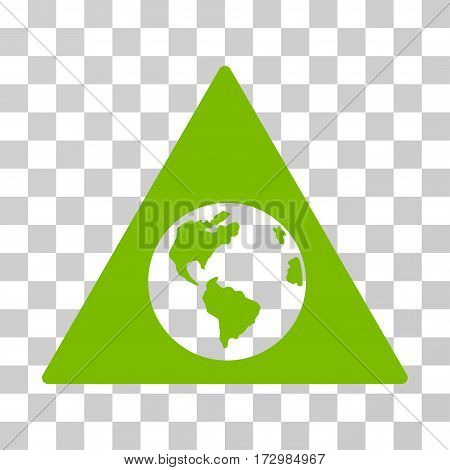 Earth Warning vector pictogram. Illustration style is flat iconic eco green symbol on a transparent background.