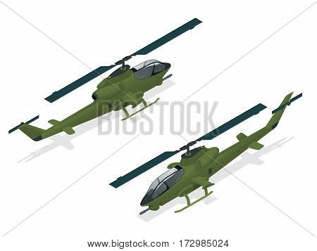 Isometric single-engine attack helicopter. Military air transport