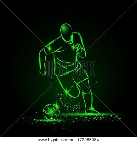Dribbling football. soccer player running with the ball. Vector neon illustration.