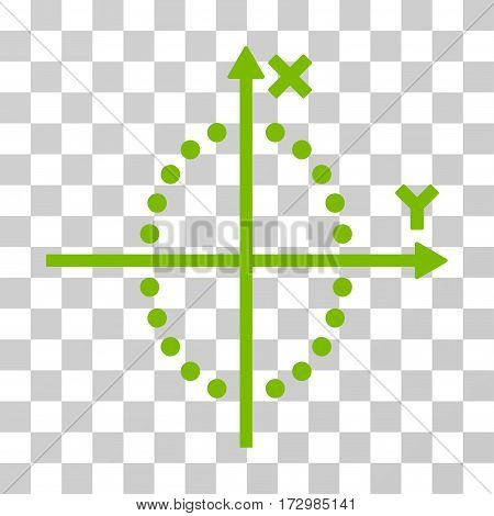 Ellipse Plot vector pictograph. Illustration style is flat iconic eco green symbol on a transparent background.