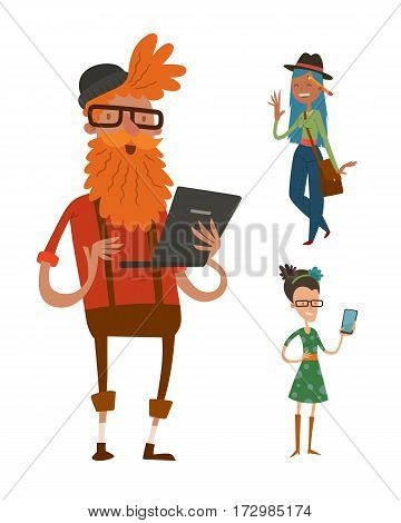 creative team people hipster business landing page group portrait website profile about page design studio design boss leader command isolated character set collection vector illustration