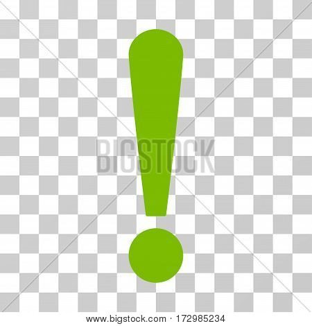 Exclamation Sign vector pictogram. Illustration style is flat iconic eco green symbol on a transparent background.