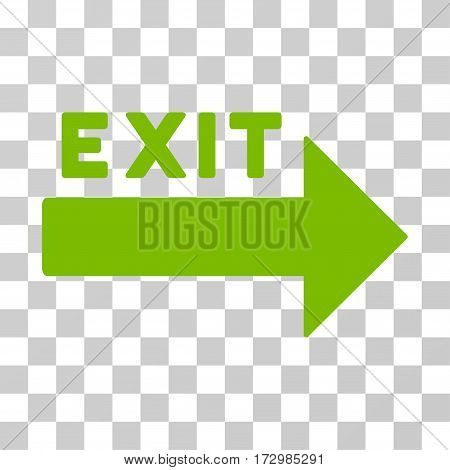 Exit Arrow vector icon. Illustration style is flat iconic eco green symbol on a transparent background.