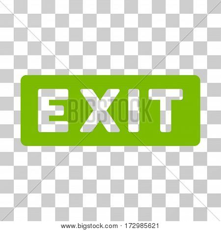 Exit Label vector pictograph. Illustration style is flat iconic eco green symbol on a transparent background.