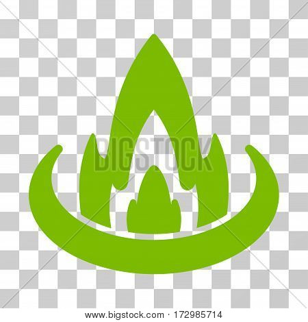 Fire Location vector pictograph. Illustration style is flat iconic eco green symbol on a transparent background.