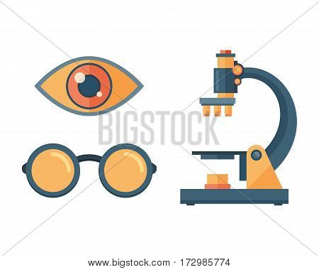 Microscope science space discovery instrument vector illustration. Universe glass magnification equipment. Research equipment observation medicine lab look.