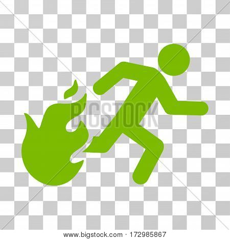 Fired Running Man vector pictogram. Illustration style is flat iconic eco green symbol on a transparent background.