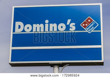 Indianapolis - Circa February 2017: Domino's Pizza Carryout Restaurant. Domino's is 97% franchise-owned with 840 independent franchise owners V