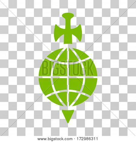 Global Guard vector pictograph. Illustration style is flat iconic eco green symbol on a transparent background.
