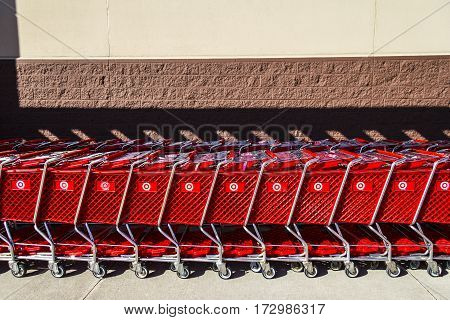 Indianapolis - Circa February 2017: Target Retail Store Baskets. Target Sells Home Goods Clothing and Electronics XII