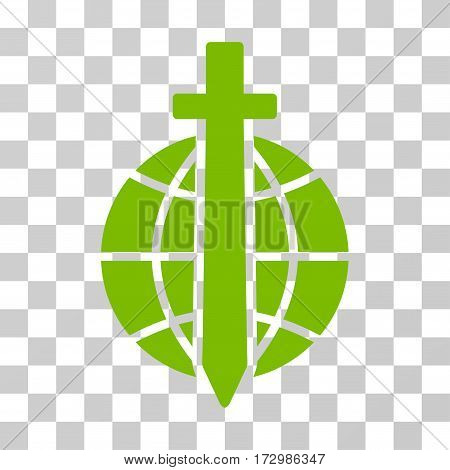 Global Guard vector icon. Illustration style is flat iconic eco green symbol on a transparent background.