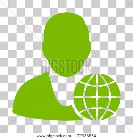 Global Manager vector pictograph. Illustration style is flat iconic eco green symbol on a transparent background.