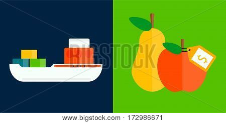 Ship boat sea silhouette vessel travel industry vector. Symbol of sailboat or cruise marine icon commercial design element. Export and fruits delivery water cargo transportation.