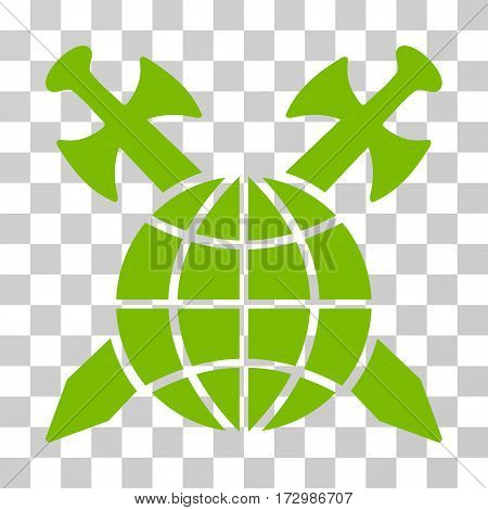 Global Protection vector pictograph. Illustration style is flat iconic eco green symbol on a transparent background.