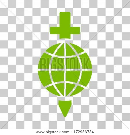 Global Safety vector pictogram. Illustration style is flat iconic eco green symbol on a transparent background.