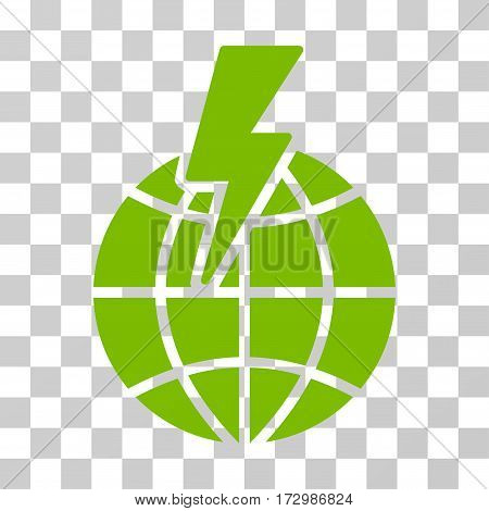 Global Shock vector icon. Illustration style is flat iconic eco green symbol on a transparent background.