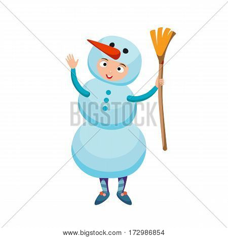 Cute kid wearing Christmas snowman costume vector. Little people isolated cheerful holliday baby party cloth. Childhood fun cartoon present smiling child.