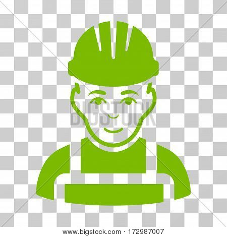 Happy Mechanic vector pictograph. Illustration style is flat iconic eco green symbol on a transparent background.