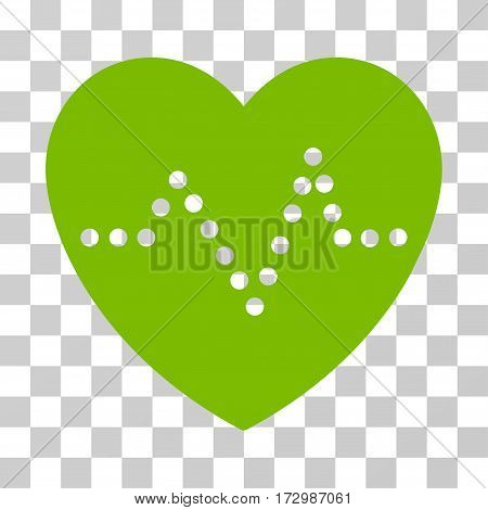 Heart Pulse vector icon. Illustration style is flat iconic eco green symbol on a transparent background.
