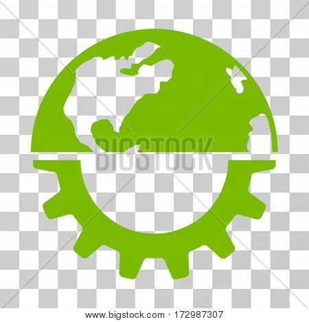 International Industry vector icon. Illustration style is flat iconic eco green symbol on a transparent background.
