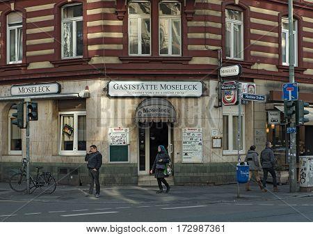 FRANKFURT, GERMANY-FEBRUARY 14, 2017: The bar Moseleck Mosel  corner of Municher Straße in the Frankfurt train station district