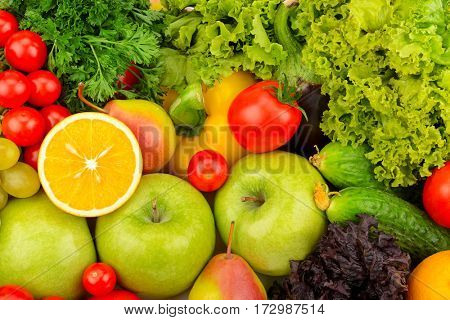 Background of natural fresh fruit and vegetables. The top view.