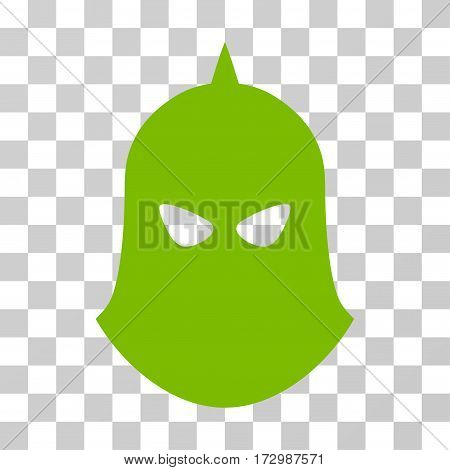 Knight Helmet vector pictogram. Illustration style is flat iconic eco green symbol on a transparent background.