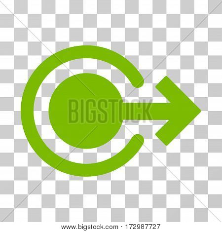 Logout vector icon. Illustration style is flat iconic eco green symbol on a transparent background.