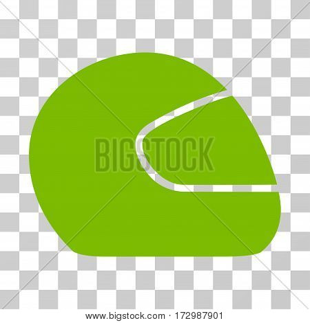 Motorcycle Helmet vector icon. Illustration style is flat iconic eco green symbol on a transparent background.