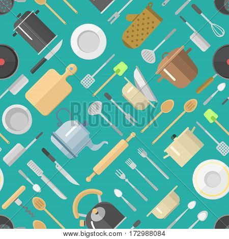 Seamless pattern with kitchenware vector illustration isolated