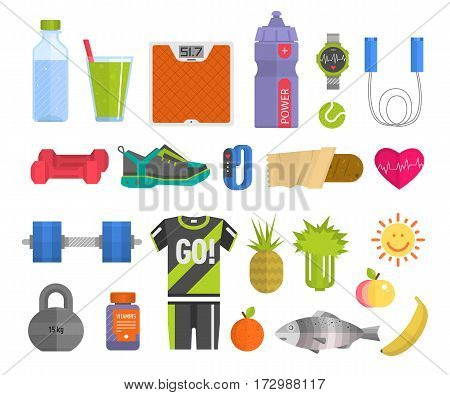 Healthy lifestyle concept with food fitness heart symbol and sport exercise icons medicine wellness fit health care activity vector illustration. Organic nature active gym flat design.