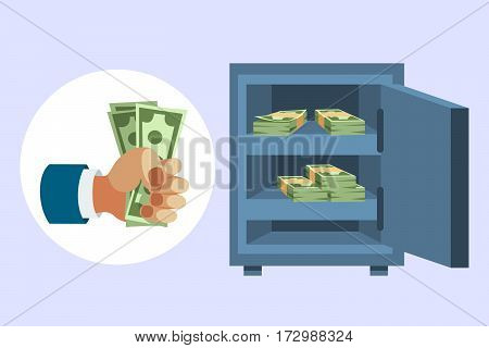 Dollar paper business finance money stack in hand us banking edition and banknotes bills in safe wealth sign investment currency vector illustration. American loan commerce concept.