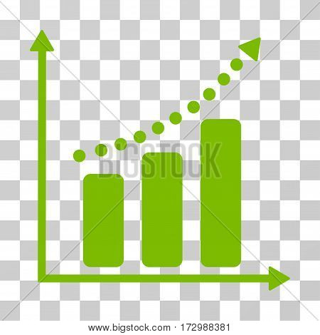 Positive Trend vector icon. Illustration style is flat iconic eco green symbol on a transparent background.