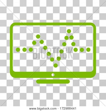 Pulse Chart vector pictograph. Illustration style is flat iconic eco green symbol on a transparent background.