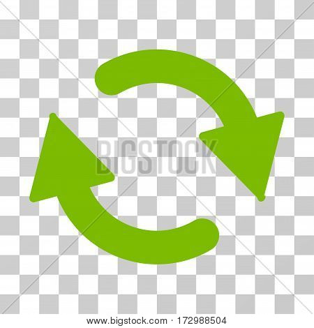 Refresh vector pictogram. Illustration style is flat iconic eco green symbol on a transparent background.