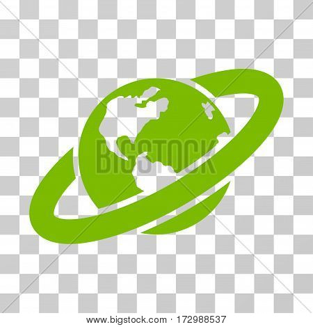 Ringed Planet vector icon. Illustration style is flat iconic eco green symbol on a transparent background.