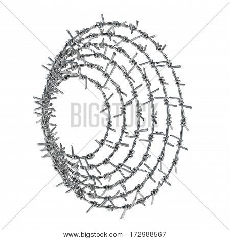 Spiral Barbed Wire Side View 3D