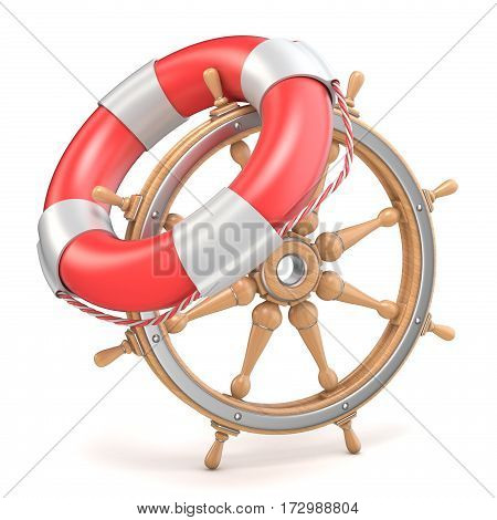 Wooden Ship Wheel And Life Buoy 3D
