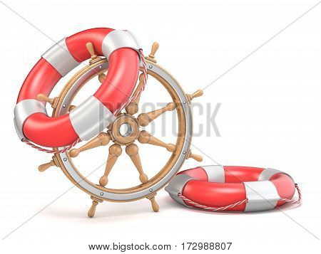 Wooden Ship Wheel And Two Life Buoys 3D