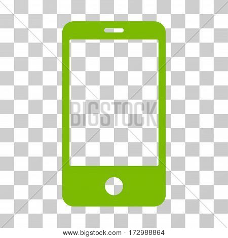 Smartphone vector pictogram. Illustration style is flat iconic eco green symbol on a transparent background.