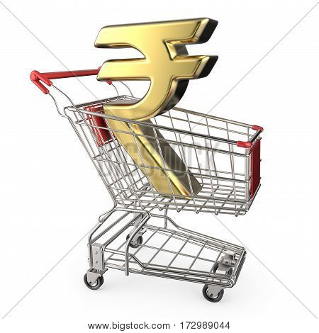 Red Shopping Cart With Golden Indian Rupee Currency Sign 3D