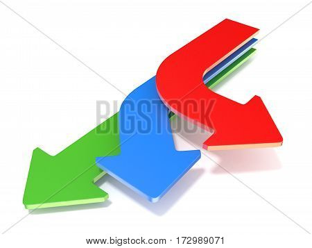 Three Way Arrows, Showing Three Different Directions. 3D