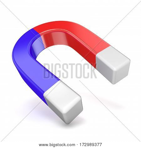 Red And Blue Horseshoe Magnet, Side View 3D